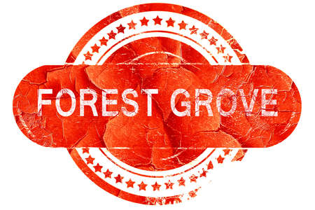 grove: forest grove, red grunge rubber stamp on white background