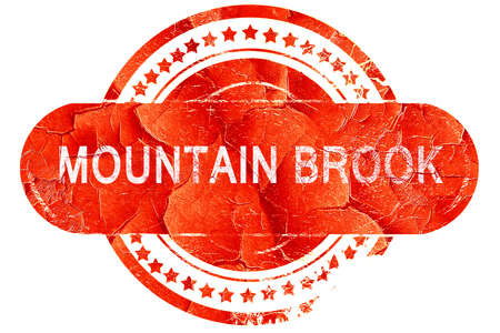 brook: mountain brook, red grunge rubber stamp on white background