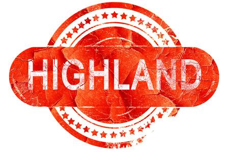 highland: highland, red grunge rubber stamp on white background
