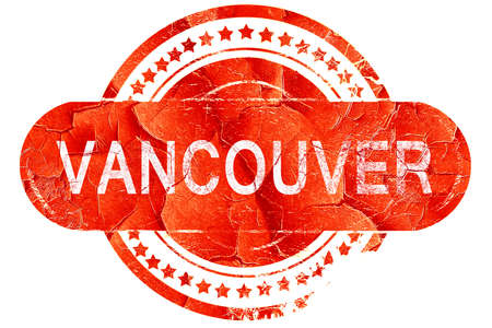 vancouver city: vancouver, red grunge rubber stamp on white background