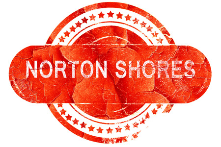 shores: norton shores, red grunge rubber stamp on white background