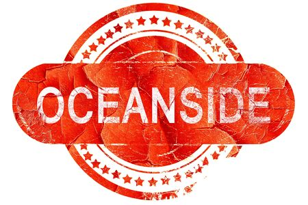 oceanside: oceanside, red grunge rubber stamp on white background