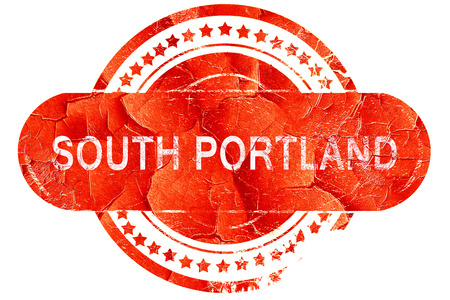 portland: south portland, red grunge rubber stamp on white background Stock Photo