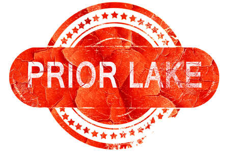 prior lake, red grunge rubber stamp on white background Stock Photo
