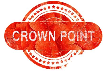 red point: crown point, red grunge rubber stamp on white background