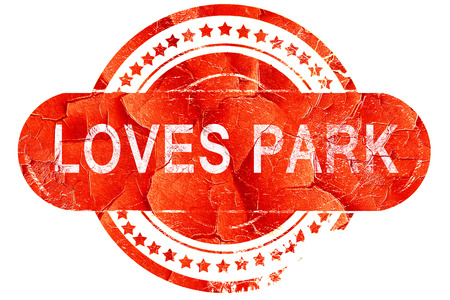 loves: loves park, red grunge rubber stamp on white background Stock Photo