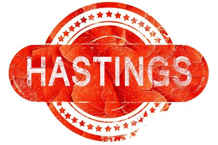 hastings: hastings, red grunge rubber stamp on white background