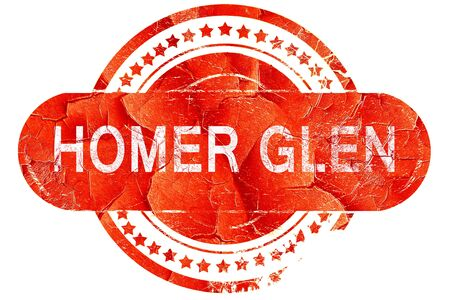 glen: homer glen, red grunge rubber stamp on white background
