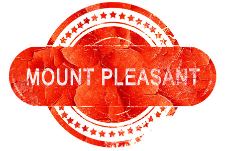 pleasant: mount pleasant, red grunge rubber stamp on white background