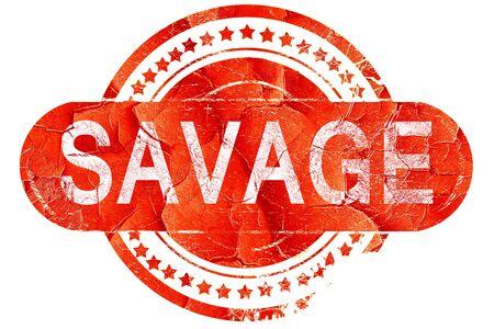 savage: savage, red grunge rubber stamp on white background Stock Photo