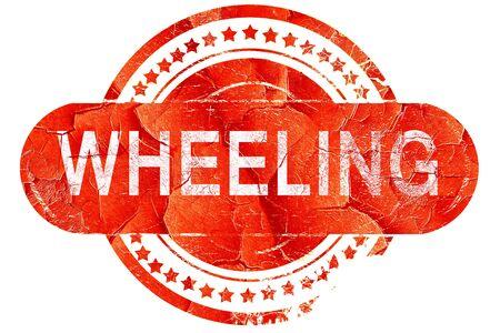 wheeling: wheeling, red grunge rubber stamp on white background