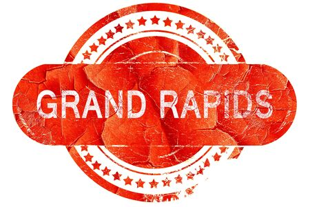 grand rapids: grand rapids, red grunge rubber stamp on white background