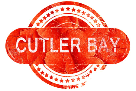 bay: cutler bay, red grunge rubber stamp on white background