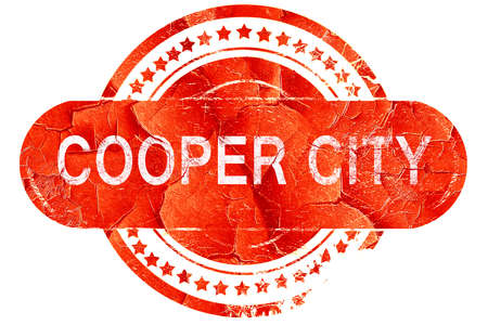 cooper: cooper city, red grunge rubber stamp on white background