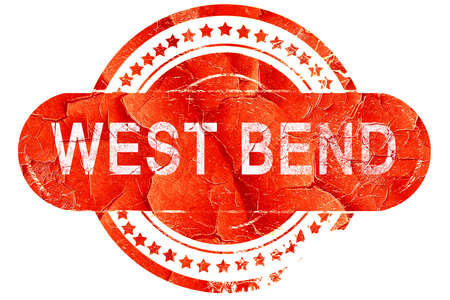 bend: west bend, red grunge rubber stamp on white background