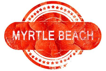 myrtle: myrtle beach, red grunge rubber stamp on white background