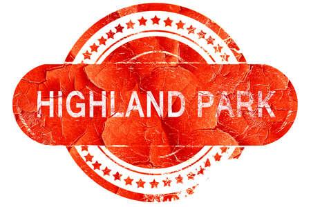 highland: highland park, red grunge rubber stamp on white background