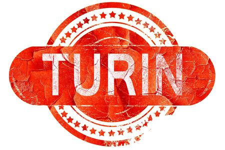 turin: Turin, red grunge rubber stamp on white background Stock Photo