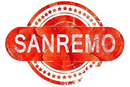 sanremo: Sanremo, red grunge rubber stamp on white background