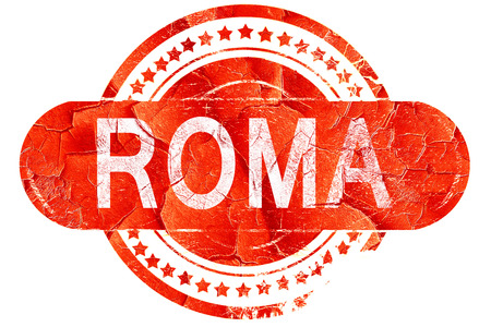roma: Roma, red grunge rubber stamp on white background