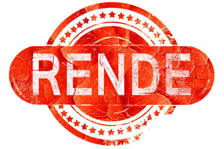 rende: Rende, red grunge rubber stamp on white background