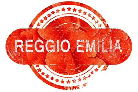 reggio emilia: Reggio emilia, red grunge rubber stamp on white background Stock Photo