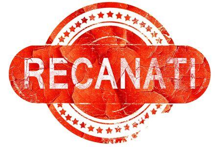 recanati: Recanati, red grunge rubber stamp on white background