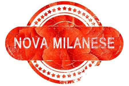 nova: Nova milanese, red grunge rubber stamp on white background