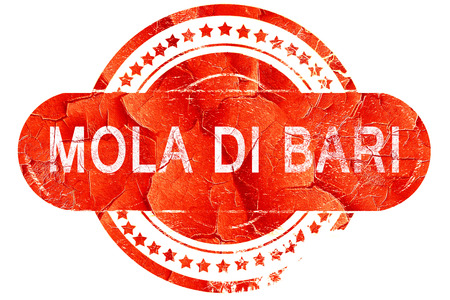 Mola di bari, red grunge rubber stamp on white background
