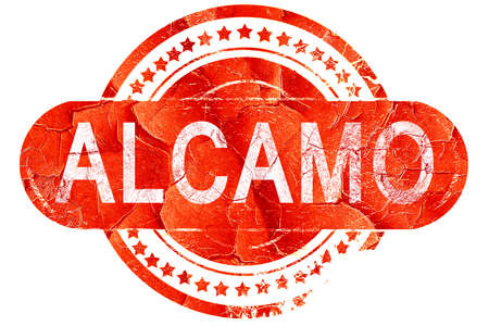 Alcamo, red grunge rubber stamp on white background Stock Photo