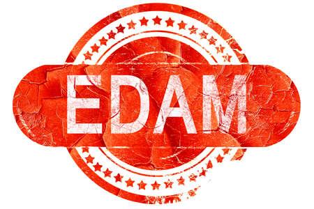 edam: Edam, red grunge rubber stamp on white background Stock Photo