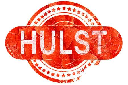 Hulst, rode grunge rubberzegel op witte achtergrond Stockfoto