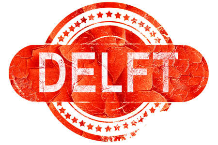 delft: Delft, red grunge rubber stamp on white background Stock Photo