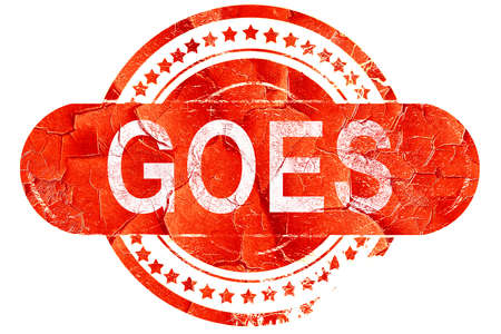 goes: Goes, red grunge rubber stamp on white background