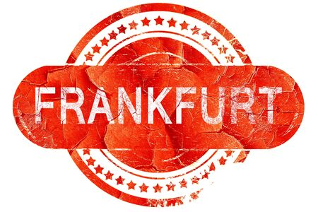 frankfurt: Frankfurt, red grunge rubber stamp on white background Stock Photo