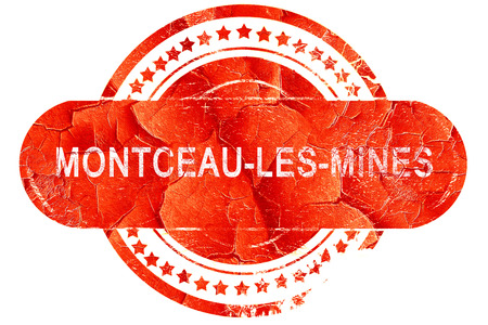 mines: montceau-les-mines, red grunge rubber stamp on white background
