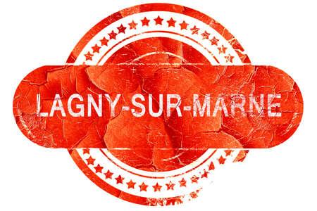 sur: lagny-sur-marne, red grunge rubber stamp on white background
