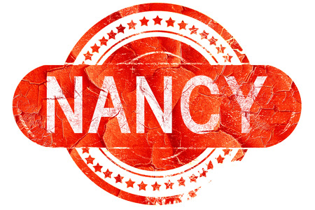 nancy, red grunge rubber stamp on white background