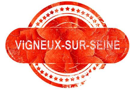 sur: vigneux-sur-seine, red grunge rubber stamp on white background