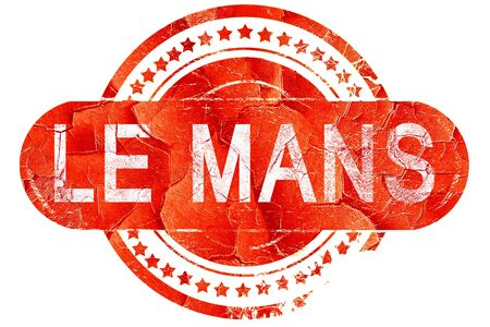 mans: le mans, red grunge rubber stamp on white background