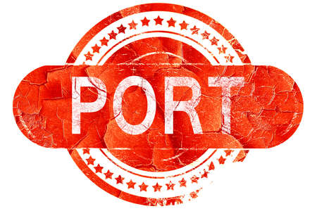 port: port, red grunge rubber stamp on white background