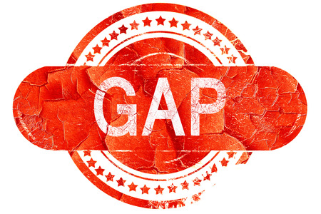 gaps: gap, red grunge rubber stamp on white background