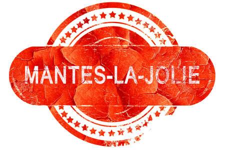 白い背景の上のグランジ マント ・ ラ ・ ジョリー、赤ゴム印