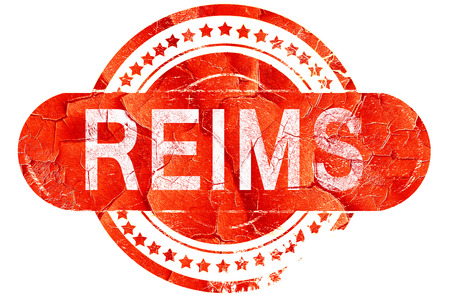 reims, red grunge rubber stamp on white background