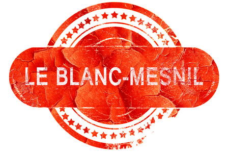 blanc: le blanc-mesnil, red grunge rubber stamp on white background