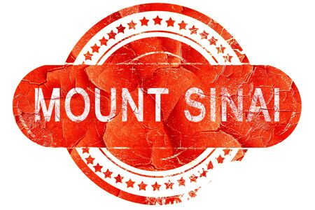 monte sinai: Monte Sinaí, grunge sello de goma de color rojo sobre fondo blanco