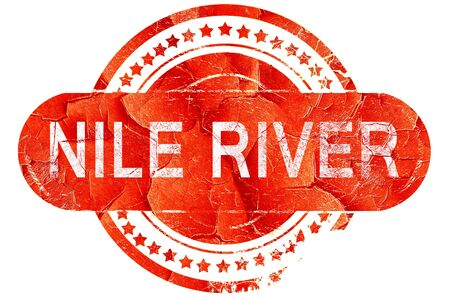 white nile: nile river, red grunge rubber stamp on white background