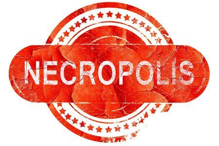 necropolis: necropolis, red grunge rubber stamp on white background