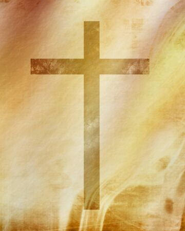 symbolics: Christian cross on paper background with some soft lines