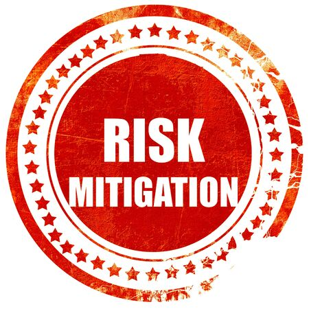 mitigating: Risk mitigation sign with some smooth lines and highlights, isolated red rubber stamp on a solid white background